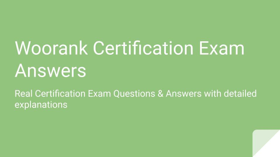 Woorank Certification Exam Answers