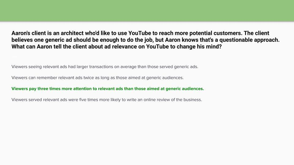 google ads video certification assessment answers