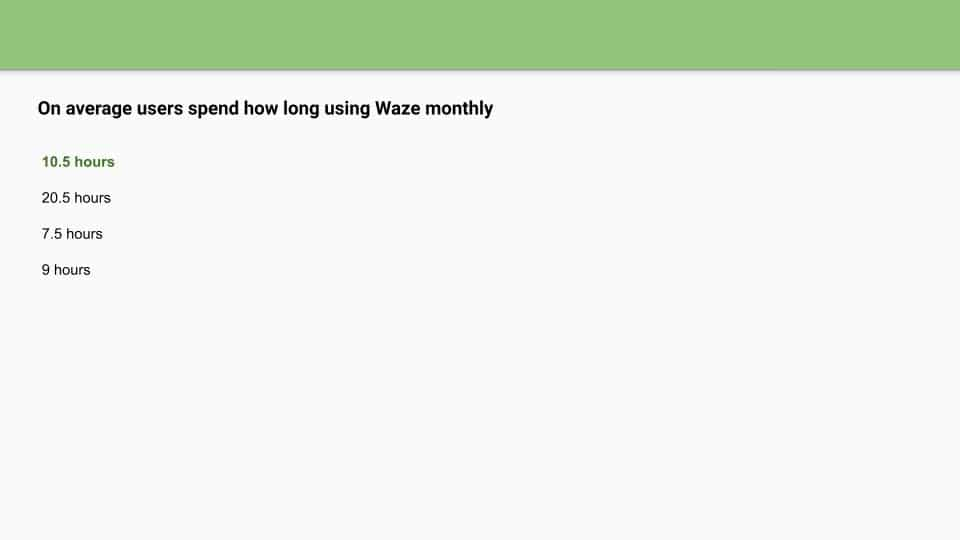 waze ads assessment answers page one