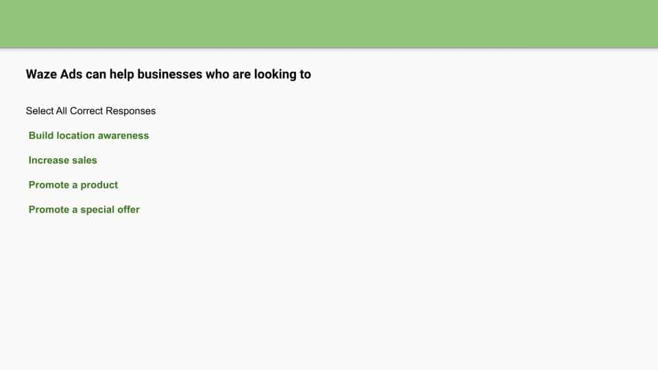 waze ads assessment answers page preview
