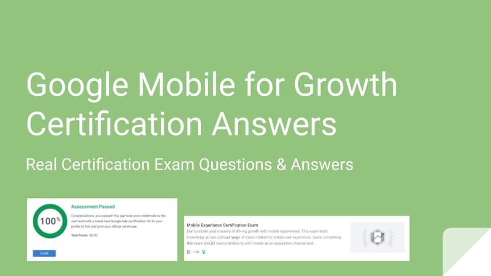 Google Mobile for Growth Certification Answers