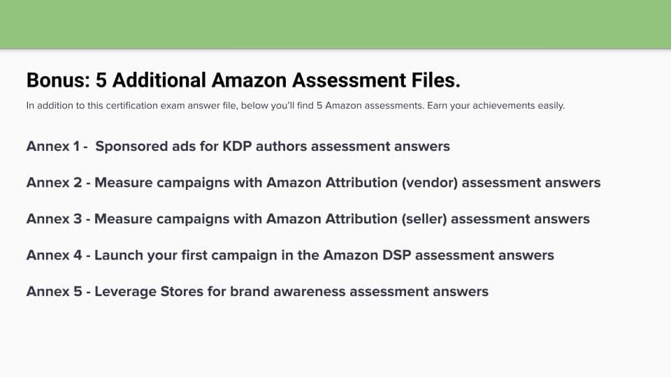 Amazon Retail for Advertisers Certification Assessment Answers US